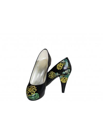 Pantofi pictati manual Yellow Flower - orice culoare