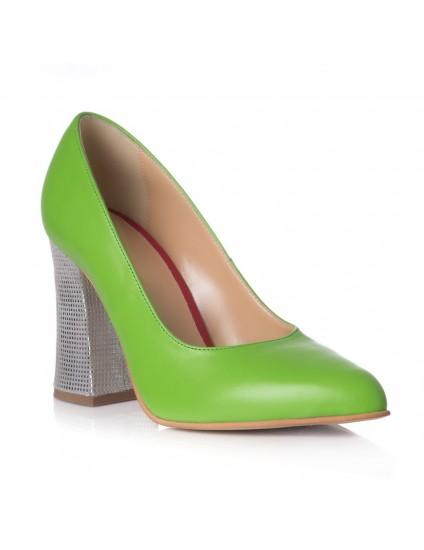 Pantofi Piele Verde Toc Evazat Chic T1 - orice culoare
