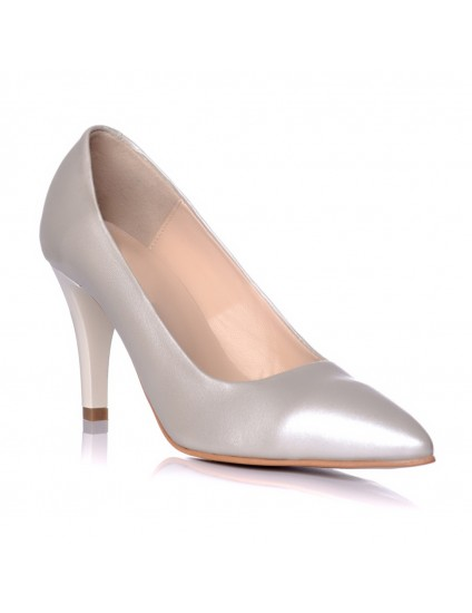 Pantofi piele naturala argintiu Mini Stiletto - pe stoc
