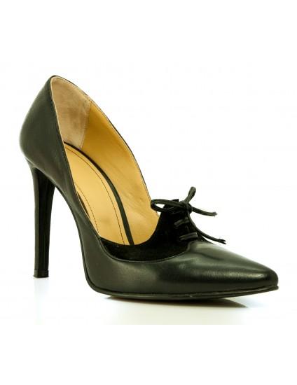 Pantofi Stiletto cu Siret F3  piele intoarsa verde - pe stoc