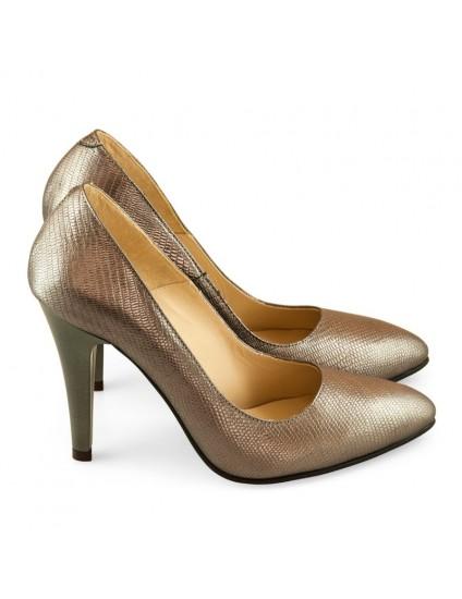 Pantofi Dama Stiletto Piele Bronz D17- orice culoare
