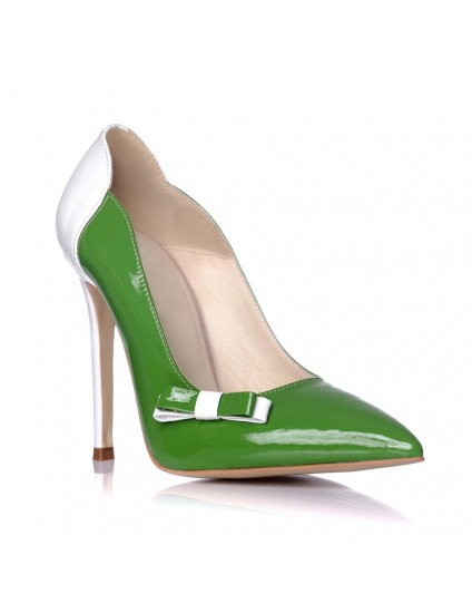 Pantofi Dama Piele Verde Stiletto Fundita L1 - pe stoc