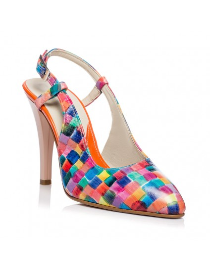 Pantofi Stiletto decupat Piele Multicolora V5  - orice culoare