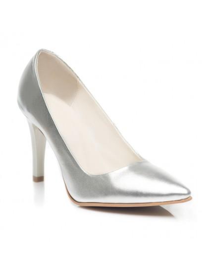 Pantofi Stiletto  Piele Argintiu C8  - orice culoare