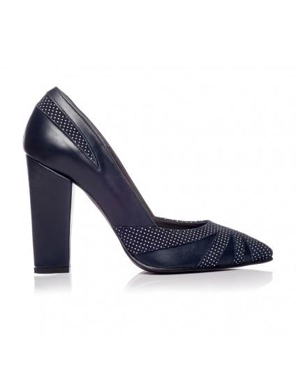 Pantofi Stiletto Toc Gros V1 Bleumarin  - orice culoare