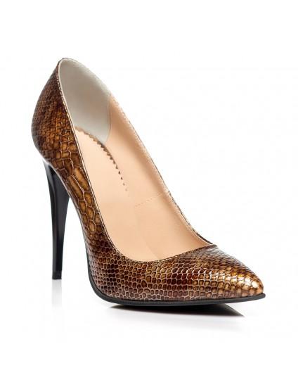 Pantofi Stiletto piele lacuita Croco PP1 - orice culoare