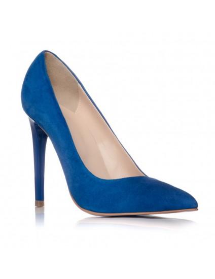 Pantofi Stiletto Piele Intoarsa Albastru C1  - pe stoc