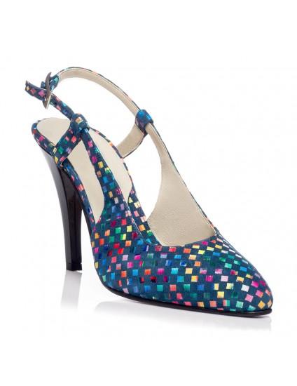 Pantofi Stiletto decupat piele Mozaic V5  - orice culoare