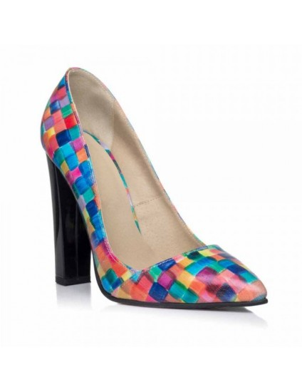 Pantofi Stiletto Toc Gros Multicolor I2- pe stoc