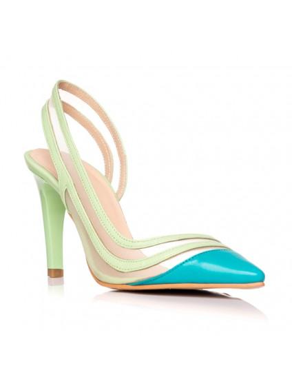 Pantofi Stiletto Piele Turcoaz Mary C34 - orice culoare