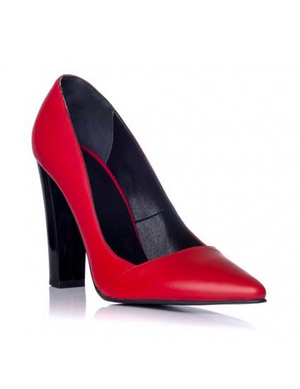 Pantofi Stiletto Toc Gros Rosu C28- orice culoare