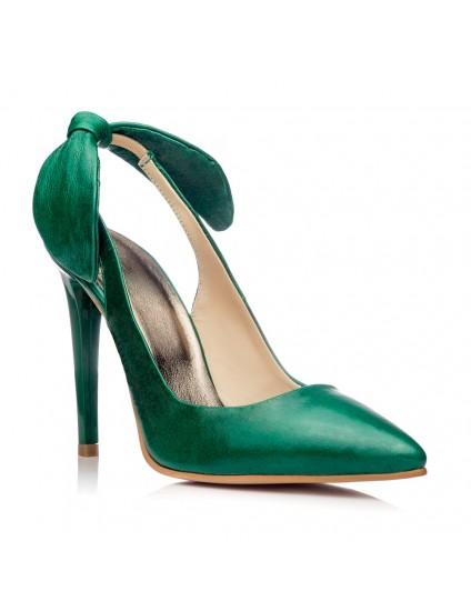 Pantofi Stiletto Decupat Piele lacuita  Verde C20 - pe stoc