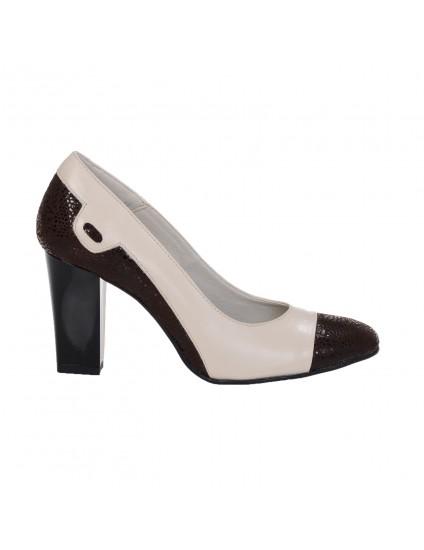 Pantofi dama piele Office 1 Crem - disponibili pe orice culoare