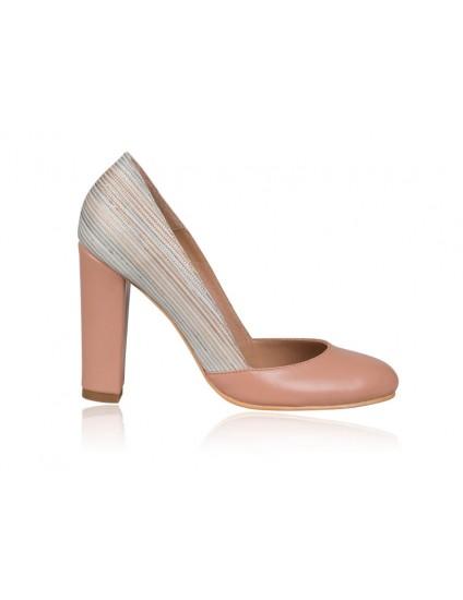 Pantofi dama piele Retro N1 Nude-Roze - orice culoare