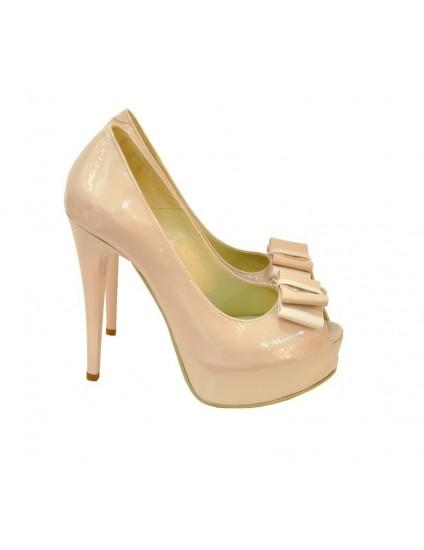 Pantofi  piele peep-toe Fundita