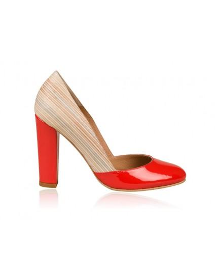 Pantofi dama piele Retro N1 Rosu  - orice culoare