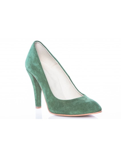 Pantofi Stiletto Verde piele intoarsa Casual - pe stoc