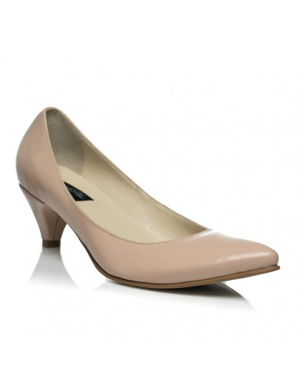 Pantofi Mini Stiletto Funda piele naturala lacuita nude - pe stoc