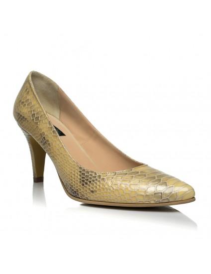 Pantofi Stiletto Toc Mic - piele snake- pe stoc
