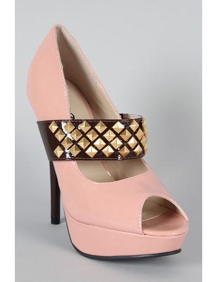 Pantofi decupati Riva cu tinte, lac, roz