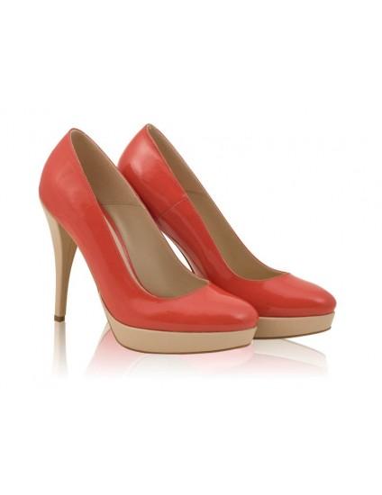 Pantofi dama piele Model N 20   Corai- disponibili pe orice culoare