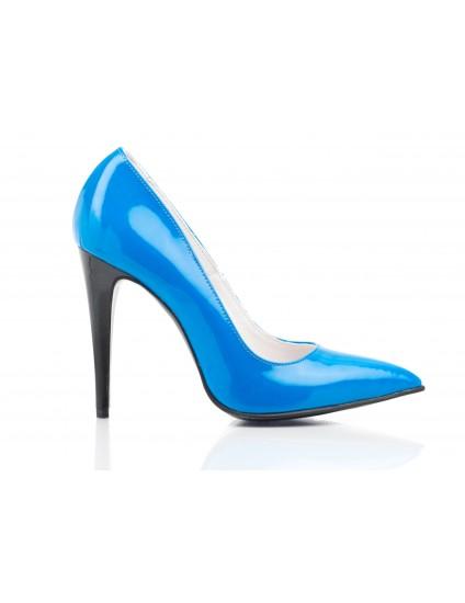 Pantofi Stiletto piele lacuita PP1 albastru - orice culoare