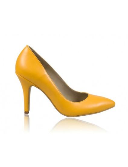 Pantofi stiletto piele galben N7 - orice  culoare