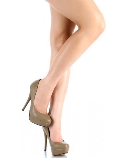 Pantofi LINDI cu toc, maro