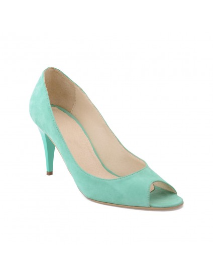 Pantofi piele naturala Mini Stiletto Decupat  Lac Verde- pe stoc