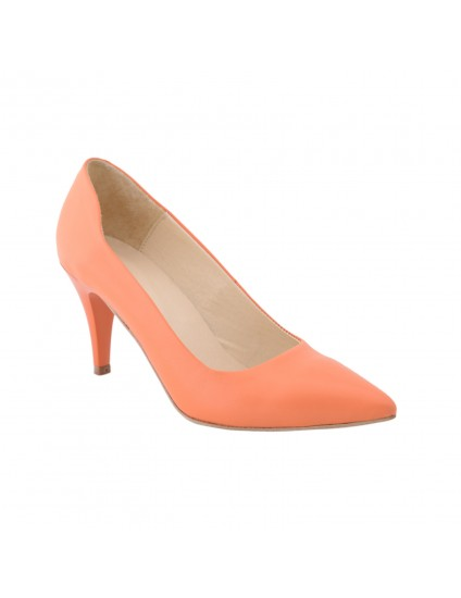 Pantofi piele naturala Mini Stiletto Portocaliu - pe stoc