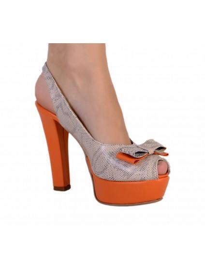 Sandale piele naturala Lara, gri orange  -  Orice culoare
