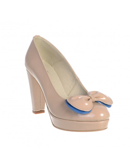 Pantofi  Vintage mini cu fundita,piele naturala,orice culoare