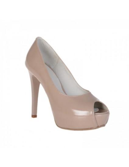 Pantofi Lori decupati piele lacuita, nude - pe stoc
