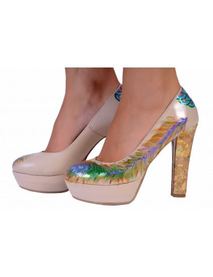Pantofi Livi piele naturala pictati manual model 1.1