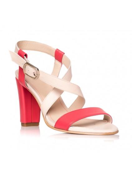 Sandale dama piele rosu/nude Sabi S9 - Orice culoare
