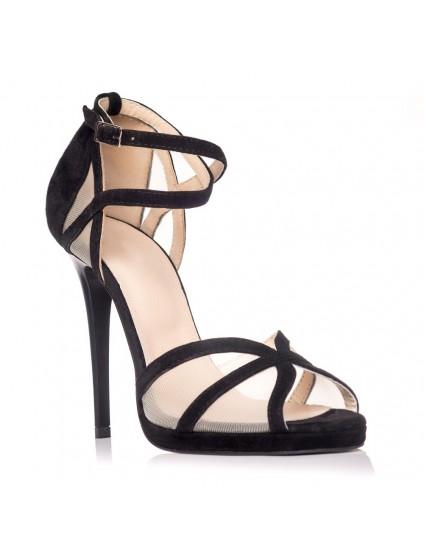 Sandale dama piele intoarsa negru Andre - Orice culoare