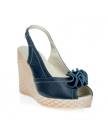 Sandale cu platforma Rufle Bleumarin - orice culoare