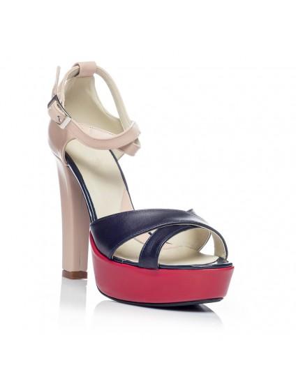 Sandale dama piele cu toc V1 Color - Orice culoare