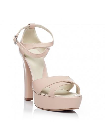 Sandale dama piele cu toc V1 Nude - pe stoc