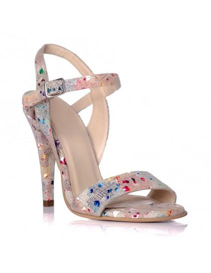 Sandale Dama Floral Auriu Anne - pe stoc