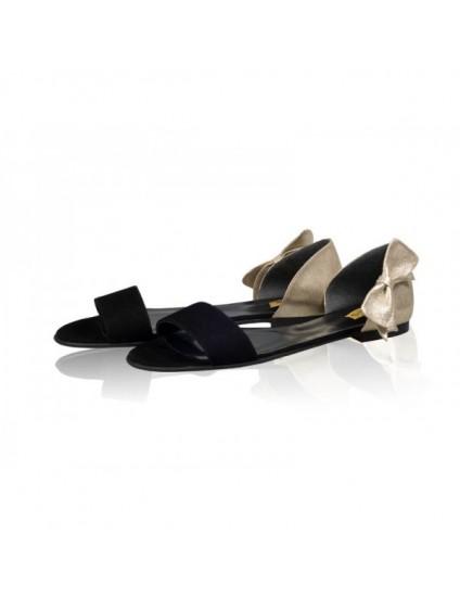 Sandale dama talpa joasa Chic Funda  Negru si Auriu - pe stoc