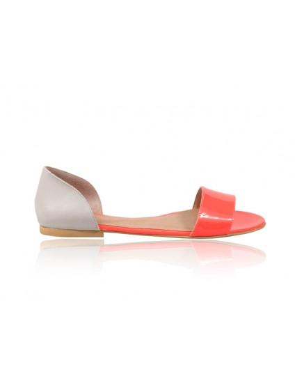 Sandale dama talpa joasa Chic - piele naturala corai- pe stoc