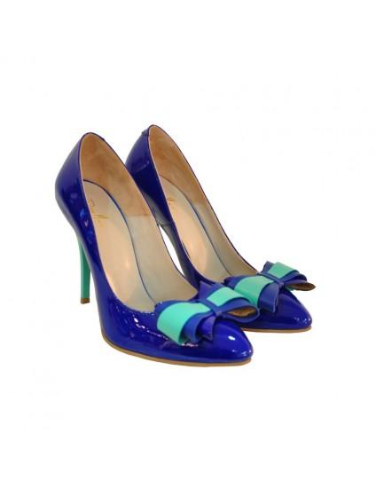 Pantofi piele stiletto Funda Albastru D17