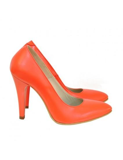 Pantofi Dama Piele Stiletto Corai D16 - orice culoare