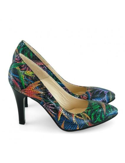 Pantofi Dama Stiletto Piele Color Tropical D17