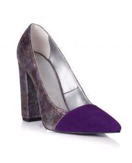 Pantofi Piele Mov/Argintiu Raisa L25 - orice culoare