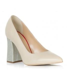Pantofi Piele Crem Toc Evazat Chic T2 - orice culoare
