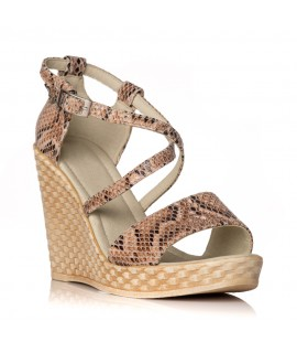 Sandale cu platforma piele snake Lorena - orice culoare