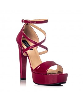 Sandale Dama Piele Clara Bordo C7 - pe stoc