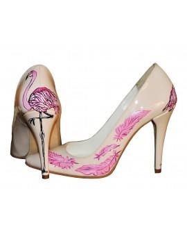 Pantofi pictati manual Pink Leaf - orice culoare